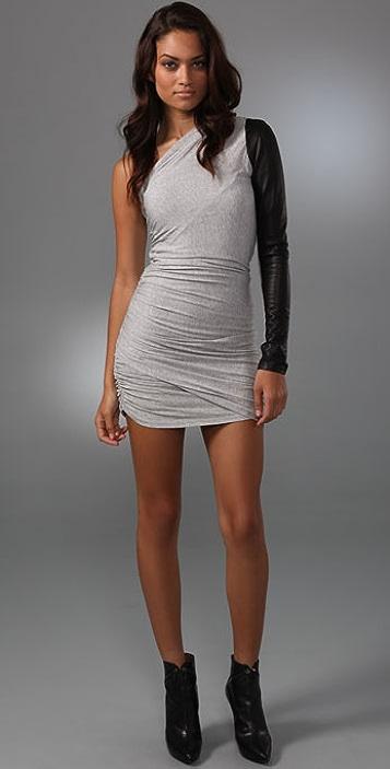 Michelle Mason Leather Sleeve Dress