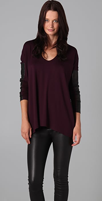 Michelle Mason Long Sleeve Top with Leather