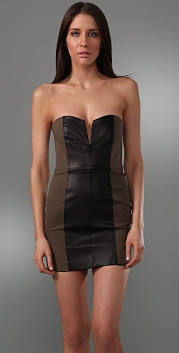 Michelle Mason Strapless Dress With Leather Panel