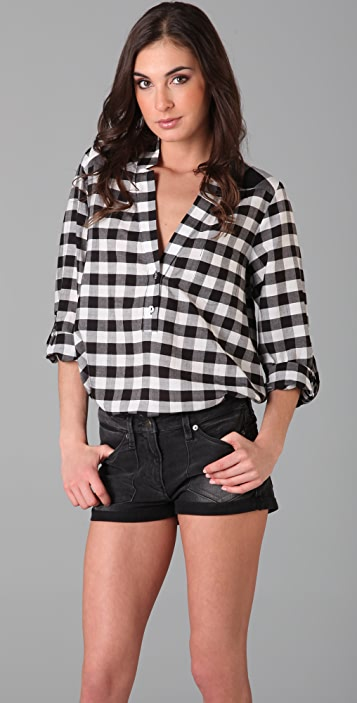 Michelle Mason Low V Gingham Blouse