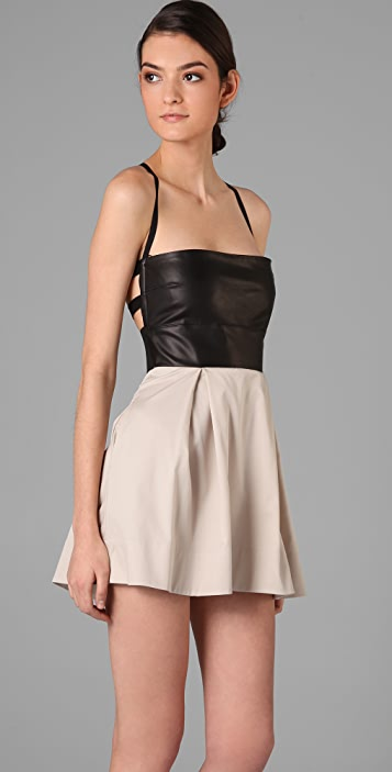 Michelle Mason Leather Bodice Dress