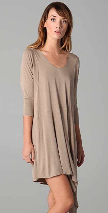 Michelle Mason Long Sleeve Dress with Asymmetrical Hem