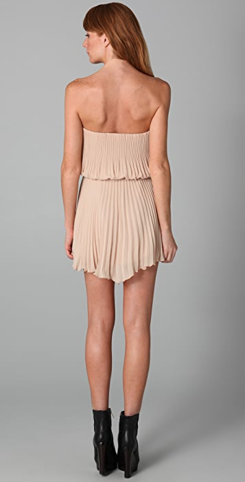 Michelle Mason Pleated Strapless Dress