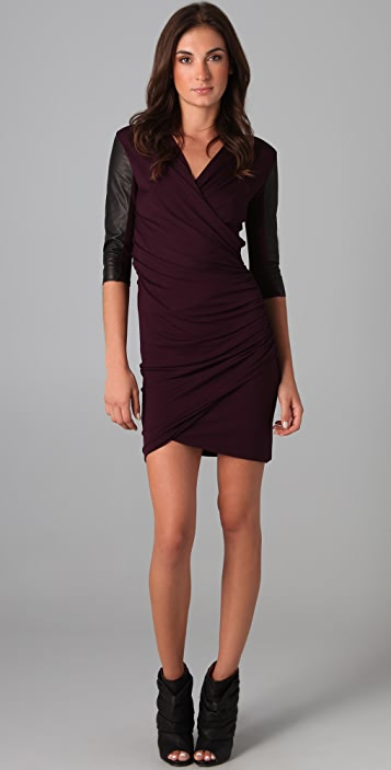 Michelle Mason Gathered Dress with Leather Sleeves