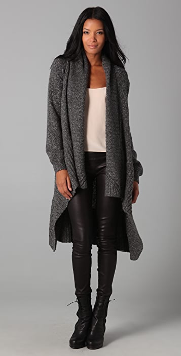 Michelle Mason Melange Blanket Coat with Leather Trim