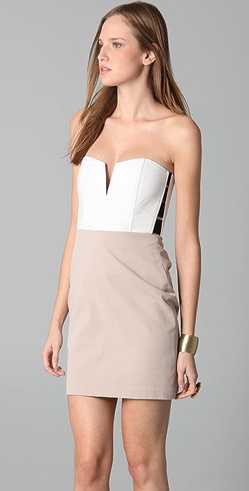 Michelle Mason Leather Bustier Dress
