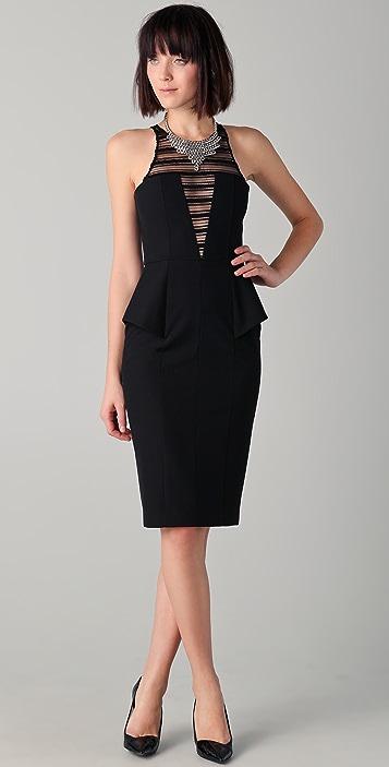Michelle Mason Peplum Dress With Lace Inset Shopbop