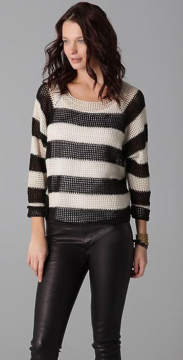 Michelle Mason Open Knit Striped Sweater