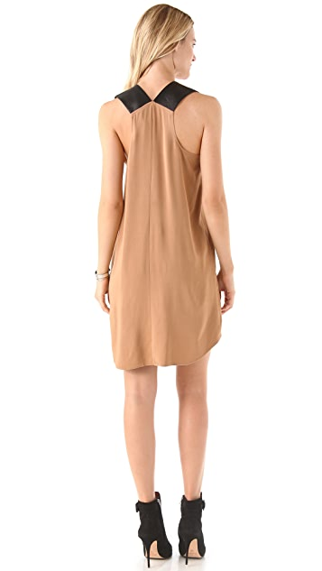 Michelle Mason Multi Strap Dress with Leather Trim