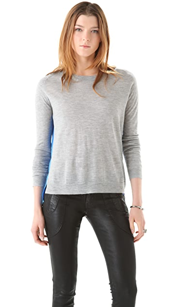 Michelle Mason Cashmere Sweater with Silk Panel