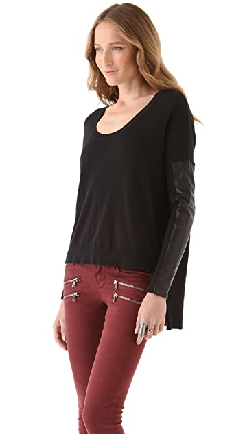Michelle Mason Leather Sleeve Top