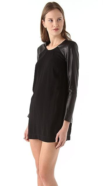 Michelle Mason Leather Sleeve Shift Dress