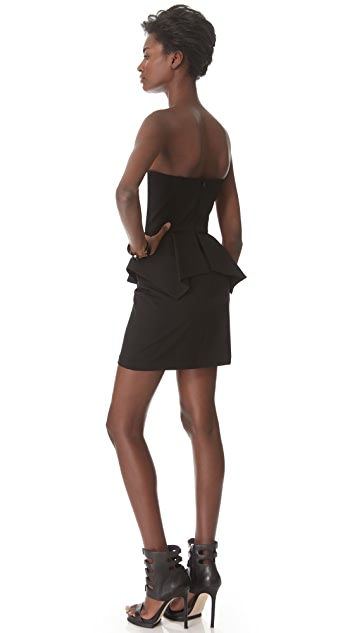 Michelle Mason Lambskin Peplum Dress