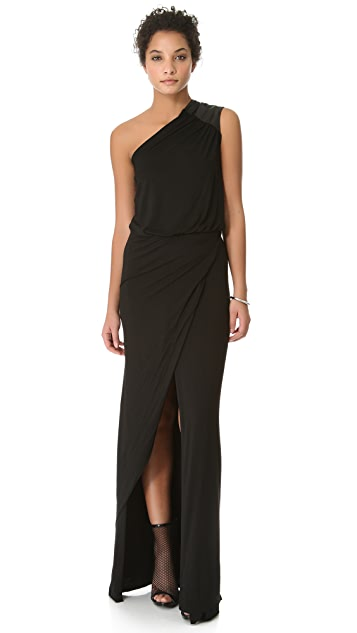 Michelle Mason Asymmetrical Gown with Leather Trim