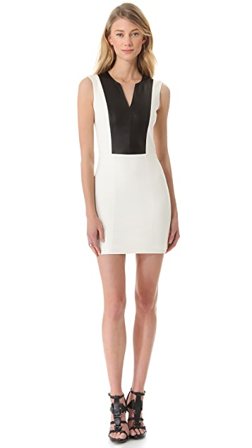 Michelle Mason Leather Inset Tank Dress