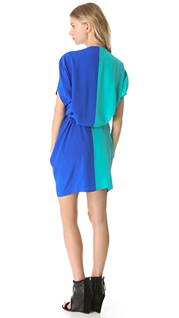 Michelle Mason Colorblock Belted Dress
