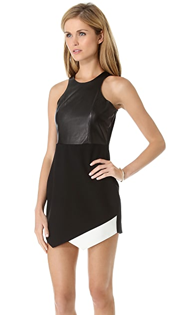 Michelle Mason Contrast Dress with Leather Bodice