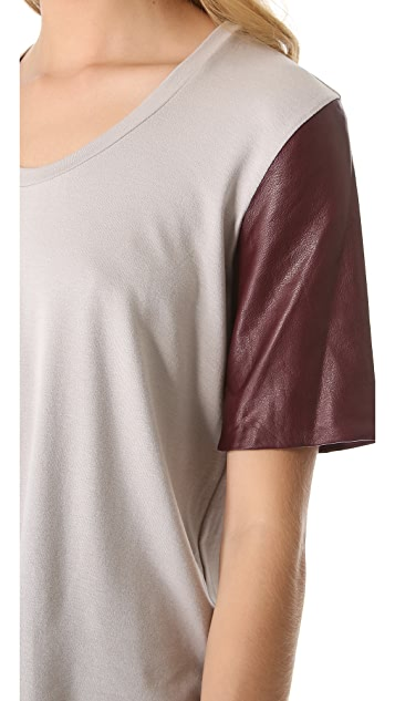 Michelle Mason Leather Sleeve Tee