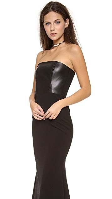 Michelle Mason Leather Front Corset Gown