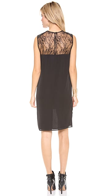 Michelle Mason Leather & Lace Shift Dress