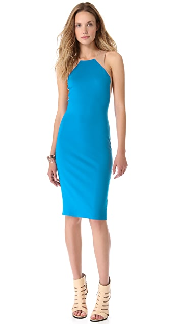Michelle Mason Tank Dress with Mesh Insets