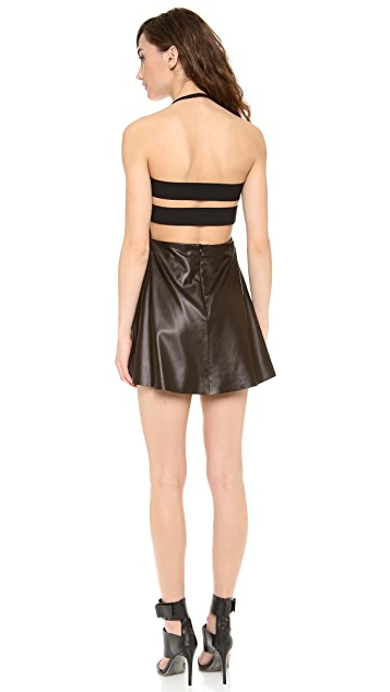Michelle Mason Elastic Back Leather Dress