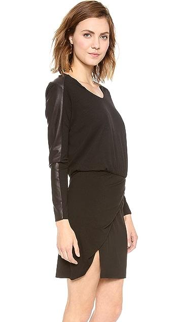 Michelle Mason Leather Sleeve Mini Dress