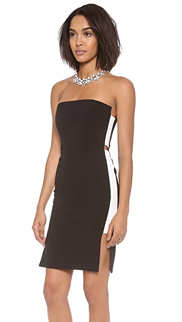 Michelle Mason Strapless Dress with Side Insets