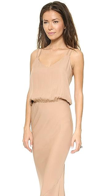 Michelle Mason Double Strap Bias Maxi Dress