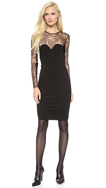 Michelle Mason Long Sleeve Dress with Lace