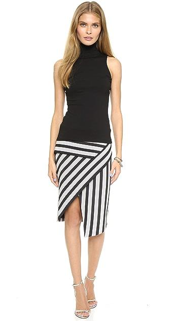 Michelle Mason Asymmetrical Stripe Peplum Skirt