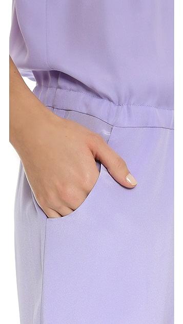 Michelle Mason Chiffon Panel Silk Jumpsuit
