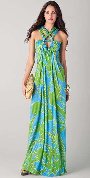 Matthew Williamson Escape Tropical Rope Knot Column Dress
