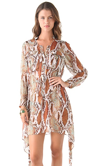 Matthew Williamson Escape Snake Cover Up Shirtdress