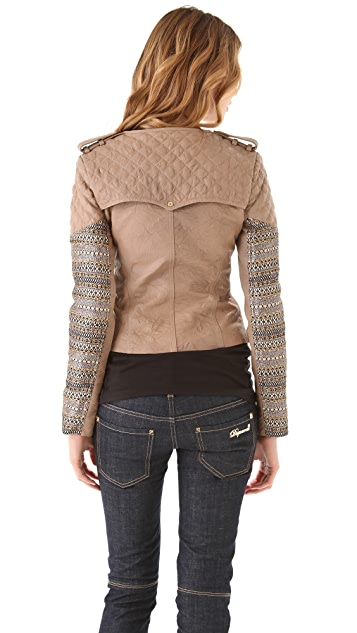 Matthew Williamson Leather Biker Jacket with Metallic Insets