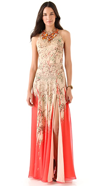 Matthew Williamson Beaded Halter Gown