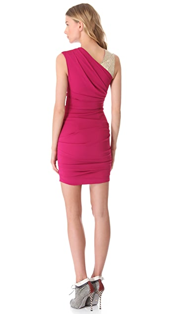Matthew Williamson Embroidered Asymmetric Bandage Dress
