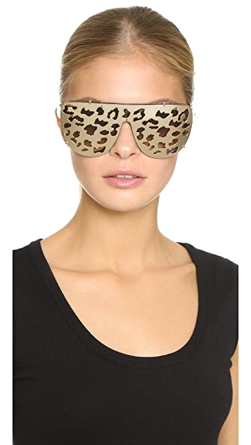 Matthew Williamson Leopard Clip On Sunglasses