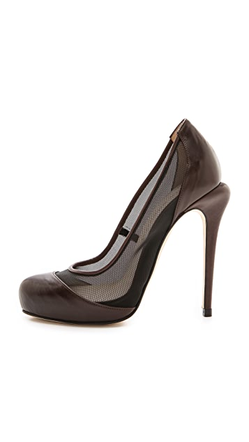 Max Kibardin Leather Pumps with Net