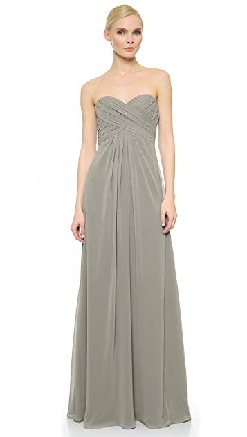 Monique Lhuillier Bridesmaids Pleated Sweetheart Gown