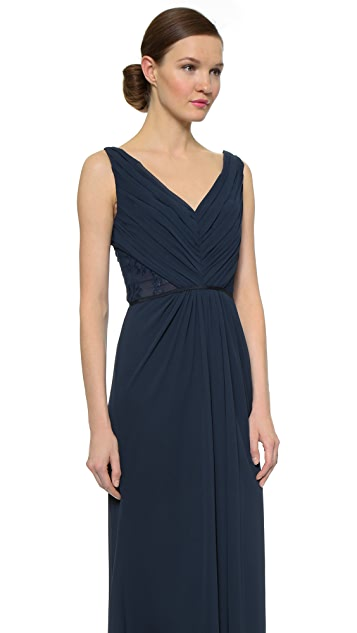 Monique Lhuillier Bridesmaids Pleated Gown with Lace Trim