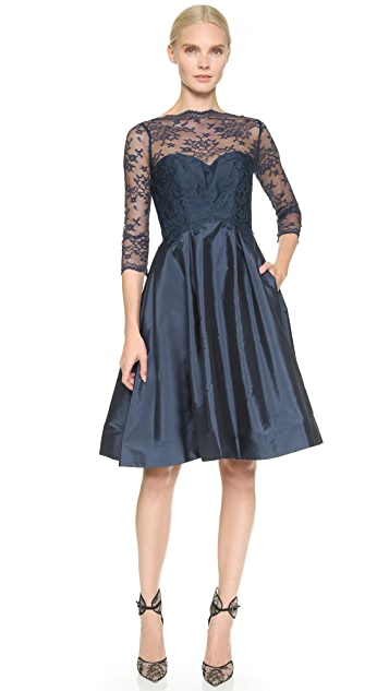Monique Lhuillier Bridesmaids Lace Bodice V Back Dress