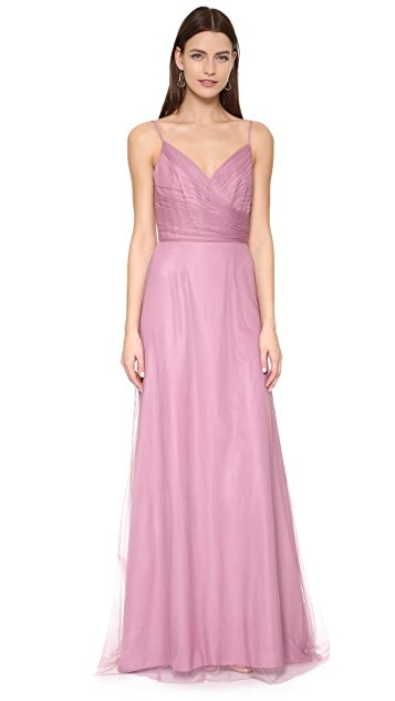 Monique Lhuillier Bridesmaids Draped Tulle Gown - Cerise