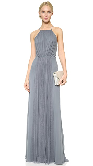 Monique Lhuillier Bridesmaids Halter Dress with Tulle Panel