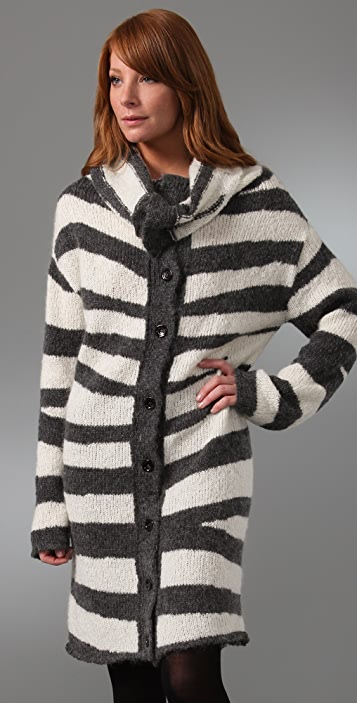 McQ - Alexander McQueen Cowl Neck Zebra Long Cardigan