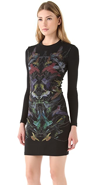 McQ - Alexander McQueen Long Sleeve Printed Dress