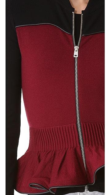 McQ - Alexander McQueen Zip Knit Peplum Jacket