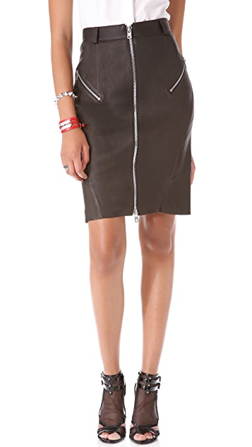 McQ - Alexander McQueen Stretch Leather Pencil Skirt