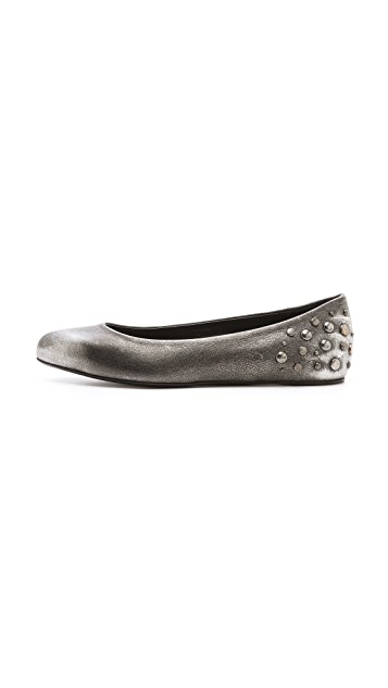 McQ - Alexander McQueen Metallic Studded Ballet Flats