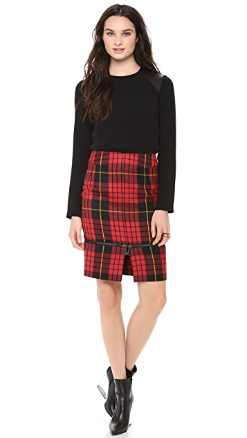 McQ - Alexander McQueen Plaid Zip Skirt